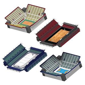 Hockey, Basketball, Tennis, Handball Stadiums 3D Model
