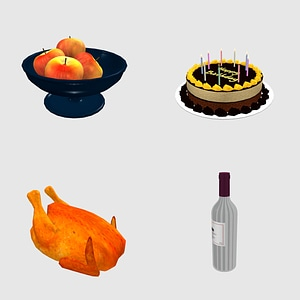 Set of Food 3D Model