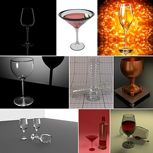 Cocktail, Wine and Champagne Glasses 3D Model
