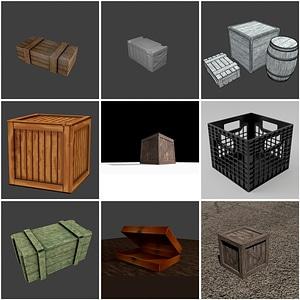 Crates Set 3D Model