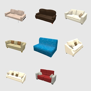 Modelo 3D de Conjunto de sofás