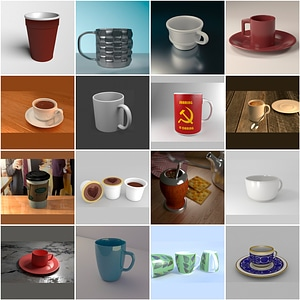 Cups and Mugs Set 3D Model