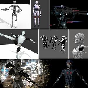 Conjunto de cyborgs y androides modelo 3D