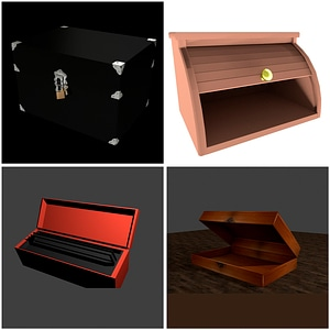 Decorative Boxes Set 3D Model
