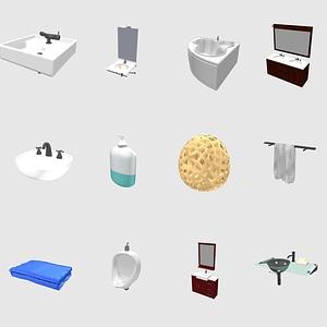 Set of Bath and Toilet 3D Model