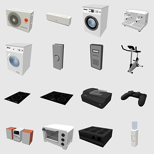 Set of Home Appliances 3D Model