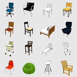 Set of Chairs 3D Model
