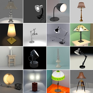 Desk Lamps Set 3D Model