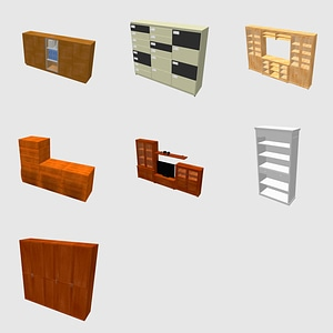 Set of Bookcases and Wardrobe 3D Model