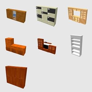 Sarja kirjahyllyjä ja vaatekaappia 3D-malli