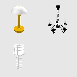 Set of Lamps 3D Model