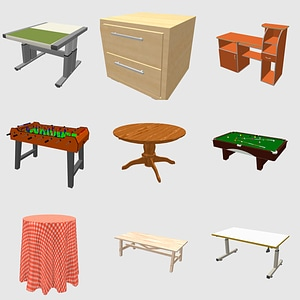 Set of Tables and Desks 3D Model