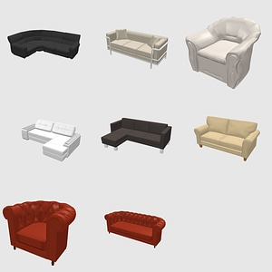 Set of Sofas and Couches 3D Model
