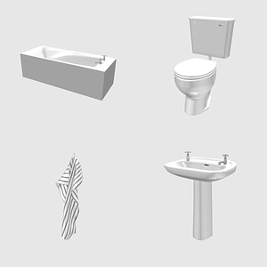 Set of Bath and Toilet 3D Model