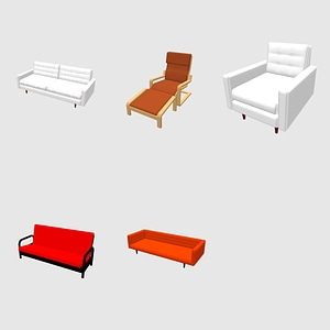 Set of Couch, Sofas and Armchairs 3D Model