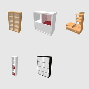 Set of Shelves and Wardrobes 3D Model