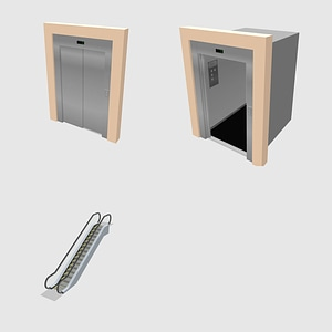 Set of Elevators 3D Model