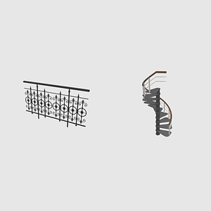 Fence and Staircase 3D Model