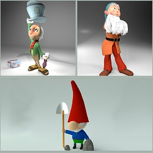 Dwarfs and Gnomes Set 3D Model