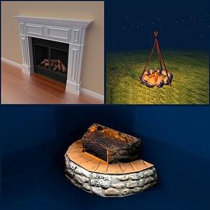 Fireplaces Set 3D Model