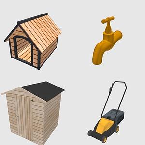 Set of Garden Items 3D Model