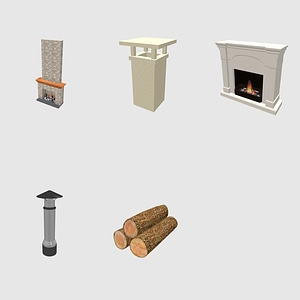 Set of Fireplaces modelo 3D