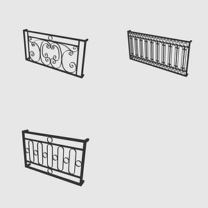 Set of Iron Railings 3D Model