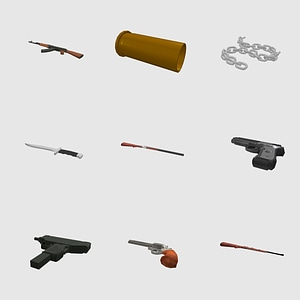 Set of Guns, Rifles and Melee Weapons 3D Model