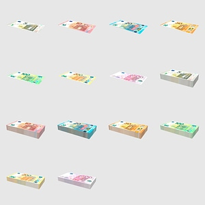 Set of Euro Bills 3D 모델