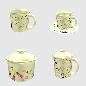 Porcelane Tea Set 3D Model