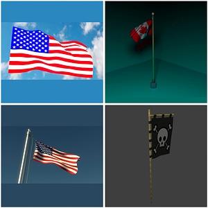 Flags Set 3D Model