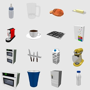 Set of Kitchen Appliances 3D Model