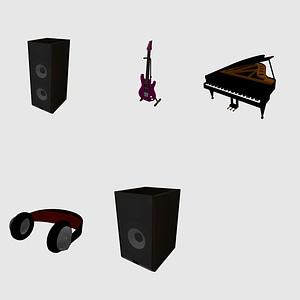 Set of Musical Instruments 3D Model