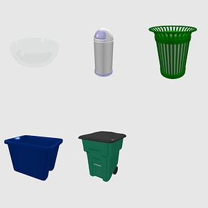 Set of Trash Cans and Bins 3D Model