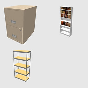Bookcase, Shelves and Cabinet 3D Model