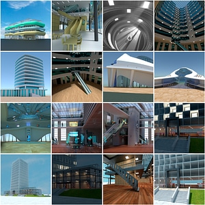 Futuristic Buildings with Interior Set 3D Model