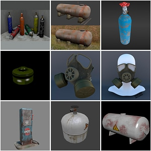 Gas Tanks Set 3D Model