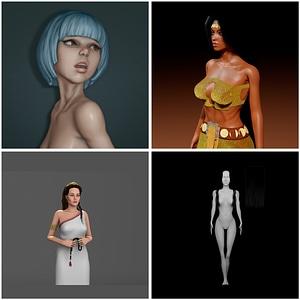 Girl Models Set 3D Model