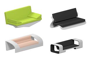 Sarja futuristista sohvaa 3D-malli