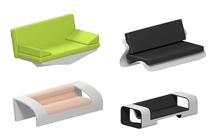 Set of Futuristic Sofa 3D Model