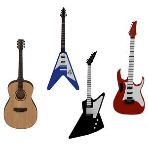 Set of Guitars 3D Model
