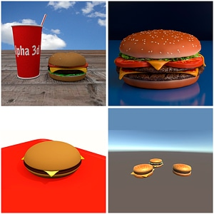 Hamburgers and Cheesburgers Set 3D Model