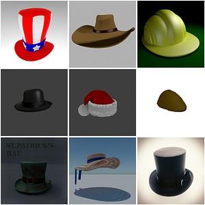 Hats Set 3D Model