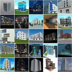 Highrise Buildings Set 3D Model