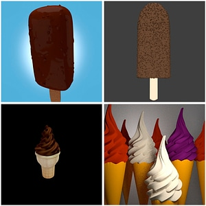 Ice Cream Set 3D Model