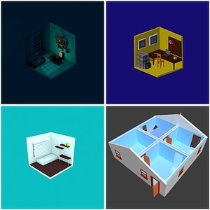 Isometric Interiors 3D Model