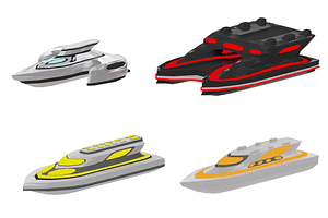 Set of Futuristic Super Yachts 3D Model