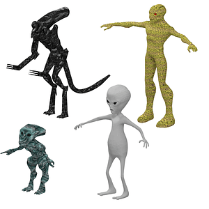 Set of Aliens 3D Model