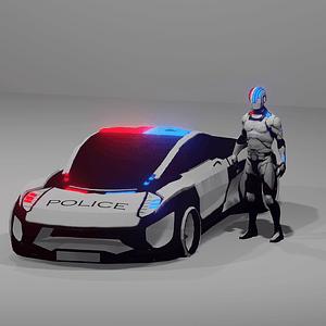 Futuristisches Polizeiauto und Polizist 3D-Modell