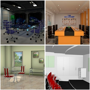 Meeting Rooms Scenes 3D Model